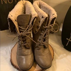Nine West furry heeled boot.
